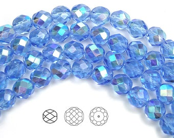 8mm (51pcs) Light Sapphire AB coated, Czech Fire Polished Round Faceted Glass Beads, 16 inch strand