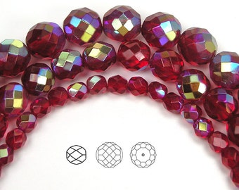 Siam AB coated, Czech Fire Polished Round Faceted Glass Beads, 4mm, 6mm, 8mm, 10mm, 12mm on 16 inch strand, Red Czech Glass Fire Polish Bead