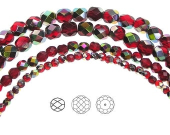 6mm (68pcs) Light Siam Vitrail coated, Czech Fire Polished Round Faceted Glass Beads, 16 inch strand