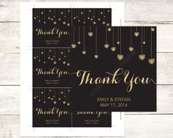 black and gold wedding custom favor tags black and gold glitter hearts wedding thank you cards black and gold wedding custom favour tags