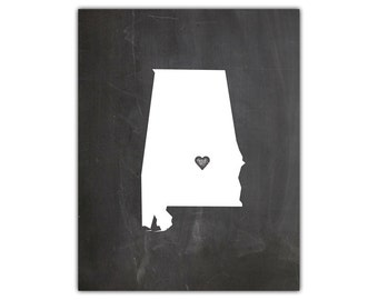Printable state silhouette print - chalkboard state wall art - state silhouette - alabama state art - state art print - instant download