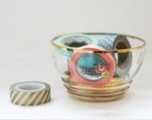 Small Vintage Glass Floral and Gold Bowl - Granny Chic!