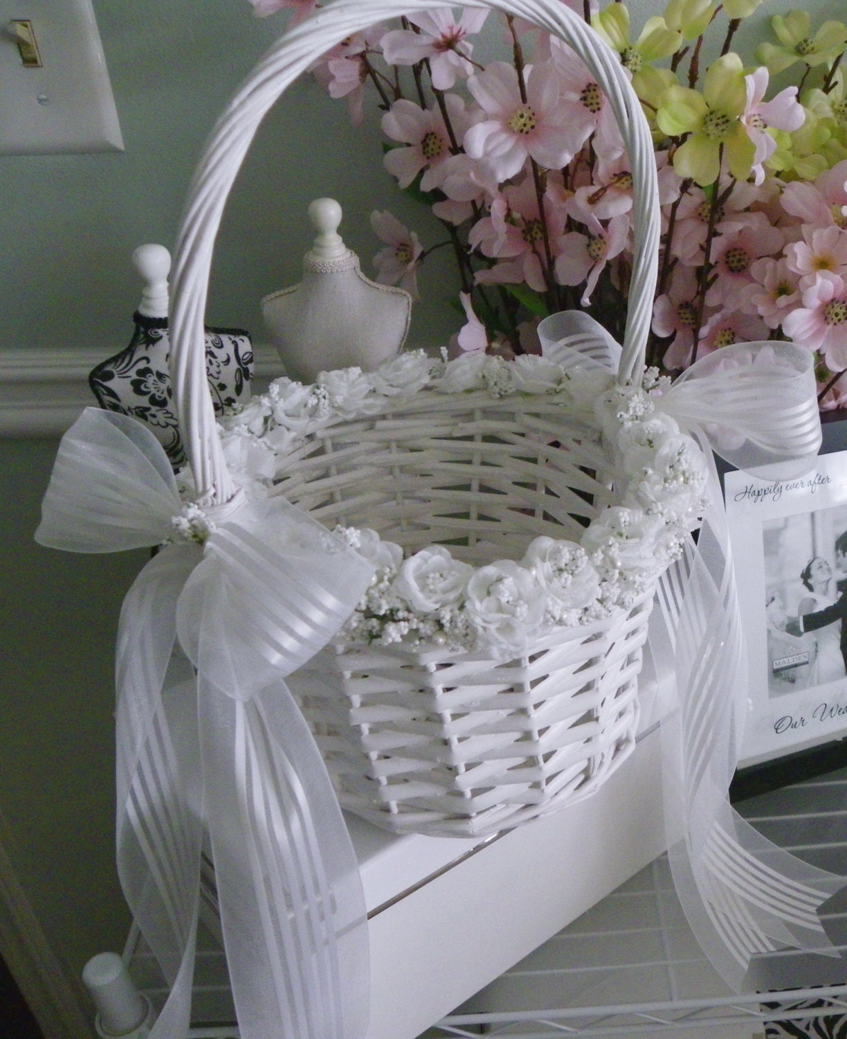 White Wicker Flower Girl Basket White Wicker Flower Girl