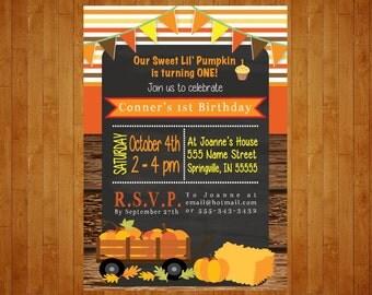 Fall Birthday Party Invitation Our Little Pumpkin Birthday Invitation chalkboard