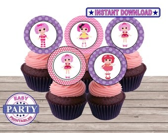 SALE Lalaloopsy Cupcake toppers, Instant Download, party printbles, lalaloopsy birthday party, lalaloopsy cupcake toppers, girls birthday
