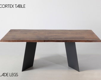 solid wood table with metal legs