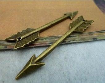 20pcs 11x65mm Antique Bronze Lovely Double Sided Arrow Charm Pendant C2322
