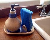 Custom Order- Burnt Amber Soap Dispenser attached to Sponge Dish