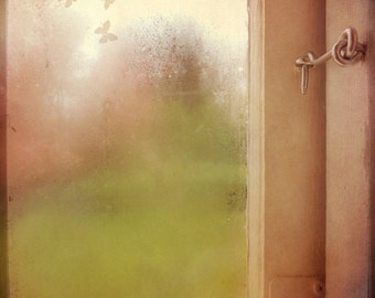 Textured photograph of locked window. Dreamy surreal mood with pink and green.  Poetic  fine art photo. Locked.