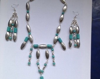 Turquoise and Tibetan silver Earring and Necklace set