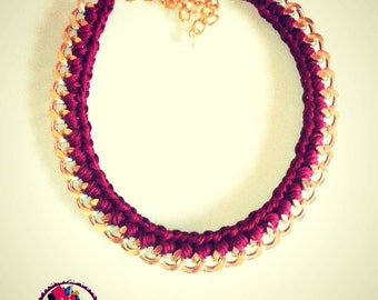 Statement Necklace. Woven Chain Necklace. Bordeaux and Gold Necklace. Handmade Necklace.