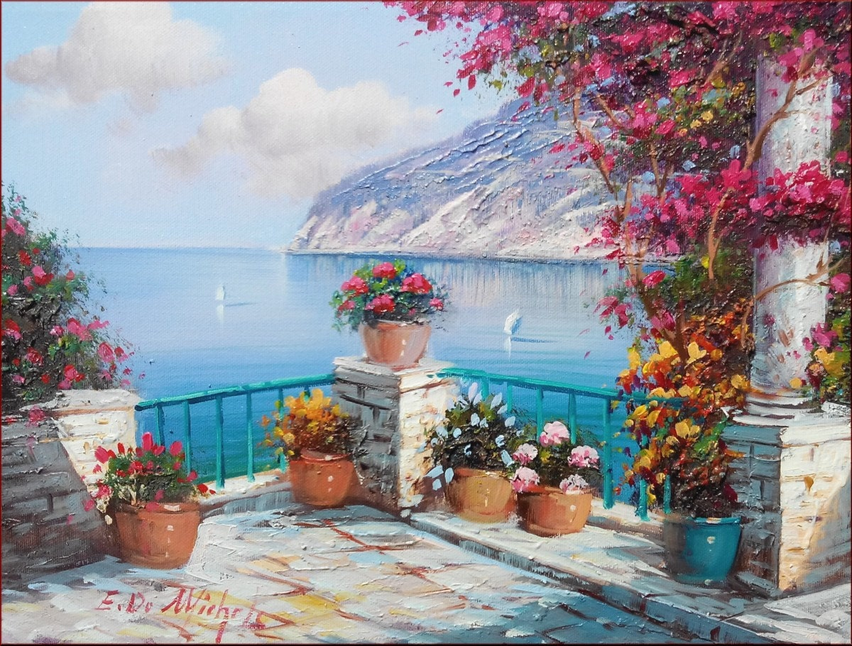 peinture italienne terrasse fleur fleurs paysage marin. Black Bedroom Furniture Sets. Home Design Ideas