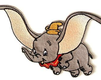 Iron on Sew on Patch:  Flying Elephant
