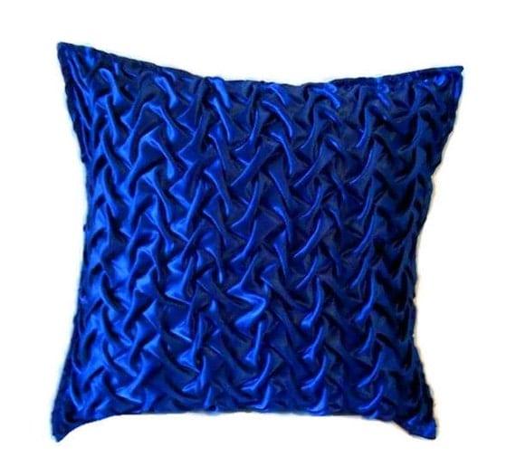 Decorative Throw Pillows Royal Blue Satin Pillow by KnotnStitch