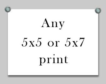 Any 5x7 fine art print, Any 5x5 fine art print, Any 5x7, Any 5x5, discount photos, photo sale
