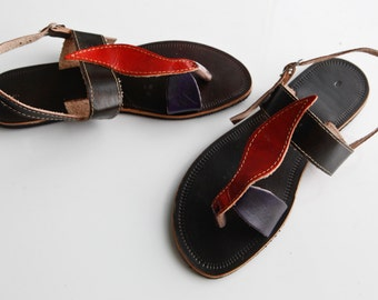"SALE Leather Sandals for Women Flat Leather Sandal Greek Style COISAS  ""Color Leaf"" Summer Sandals"
