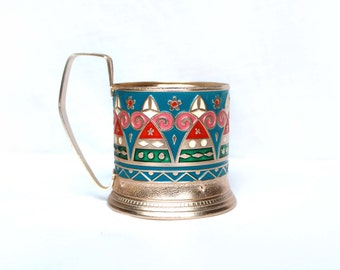 Vintage soviet tea glass holder - colored retro Russian glass holder –podstakannik from USSR/4