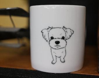 Hand painted animal mug  - Cute mug cup - dog mug cup - Maltese dog mug