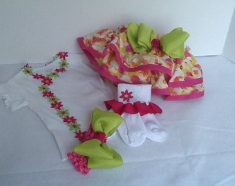 Hot pink and lime green girls diaper cover outfit