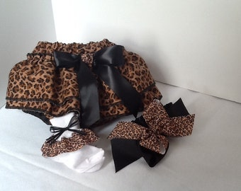 Brown and black animal print diaper cover set