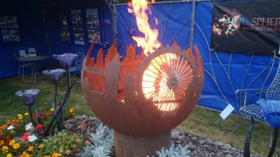 "Fire Sphere Sculptural Fire Pit ''London Scene"" Design by Craftsmen in Metal J.W & A.J Barrett Ltd."