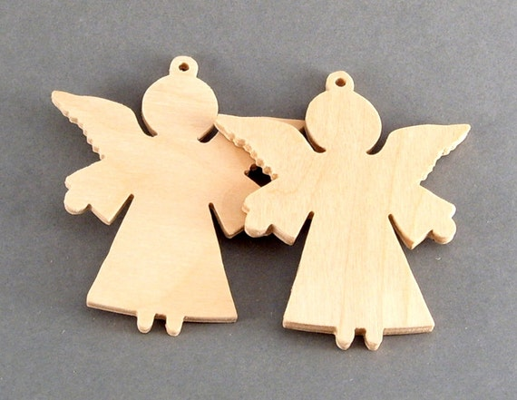 Items Similar To Wooden Angel Ornament Christmas Tree