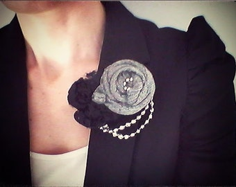 Grey brooch with Black Lace