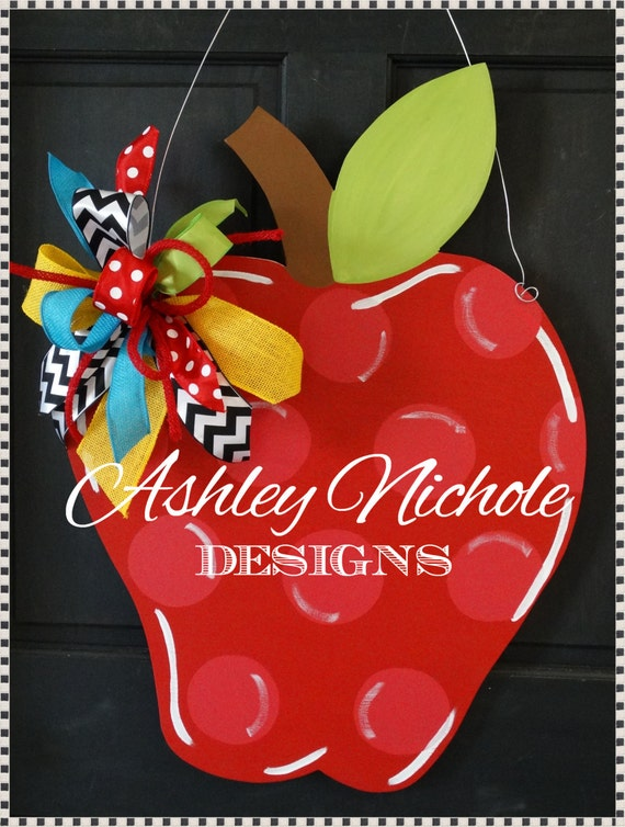 Back to school apple door hanger back to school decor wooden for Apples decoration