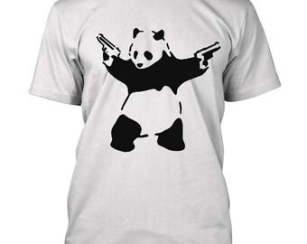 Banksy Panda with Guns T-shirt Cute Panda second amendment Gun rights funny Tee Shirt