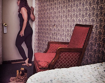 Missing - First in Missing Series. Conceptual Photography. Woman waiting in motel room. Self Portrait.