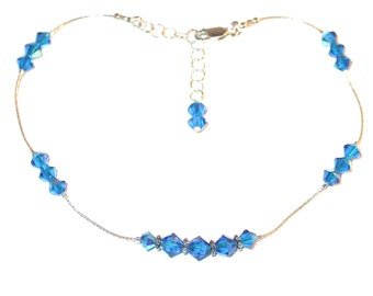 Swarovski Crystal Anklet Sterling Silver CAPRI BLUE Bali Handcrafted