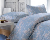 Cottage Chic Blue Floral Cotton Satin Duvet Cover Set Bedding - Sakura