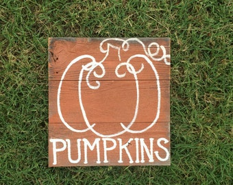 """Rustic 10 x 10 """"Pumpkins"""" using recycled / salvaged wood"""