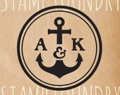 Anchor Nautical Boat Custom Monogram Stamp, personalized monogram name stamp, self-inking stamp, clear stamp MO110