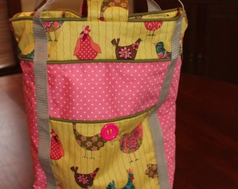 Whimsical chicken tote.  Just as cute inside and out.