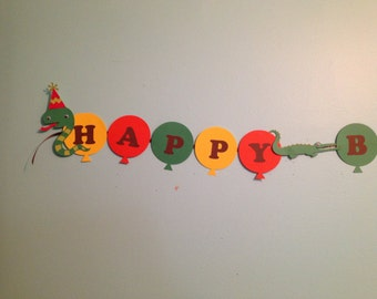 Reptile, Swamp, Birthday Party Banner with Name