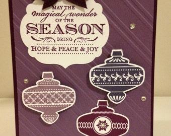 Purple Christmas Ornament Card