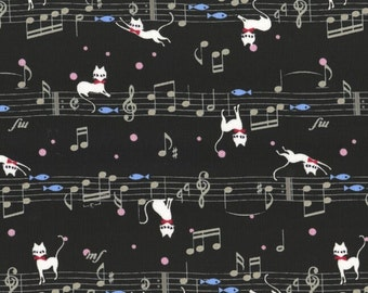 """Cats on Musical Note BLACK 100% Cotton ~ 42"""" Wide ~ Sold by the Yard"""