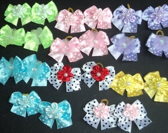 Pack of 30 Dog Hair Bows - Many Variety of colors for small dogs topknots or pairs around ear - Cute!!!