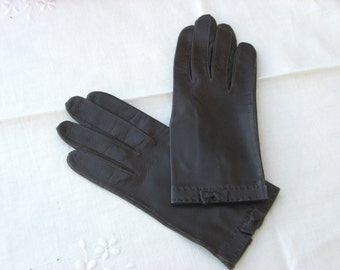 Gloves - Kidskin Leather - Brown - Vintage