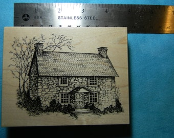PSX Heirloom Collection - Limited Edition - HC 1663 Rubber Stamp - Stone Cottage/House - Made in USA