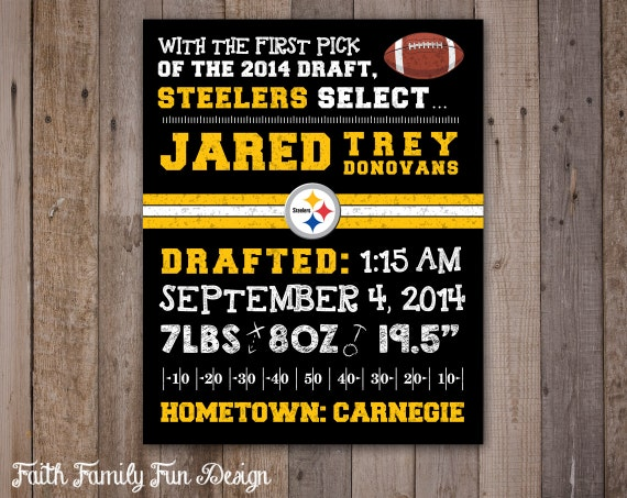 Baby Showers Pittsburgh ~ Football birth announcement wall art by faithfamilyfundesign
