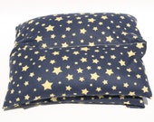 Heating Pad - Microwave Rice Heating Pad - Hot Cold Therapy -  Navy Blue with Beige Stars