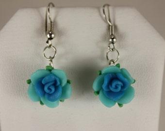Poly clay flower earrings/asst. colors - fishhooks, Lt blue-Blue, E 154