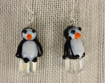 Penguin lampwork earrings - fishhooks  E229