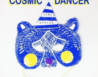 Bear Animal Party Mask with stamp sentences • Lino-cut • Linoleum • print • illustration • Bear • blue yellow blau gelb • Glitzer glitter