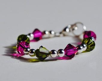 Baby girl bracelet, Green and Purple, Swarovski Crystals