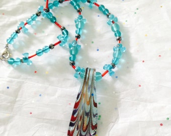 Blue glass and beadwork necklace. Blue and red glass necklace. Glass and bead necklace.  blue necklace. Red necklace. TBFB1453