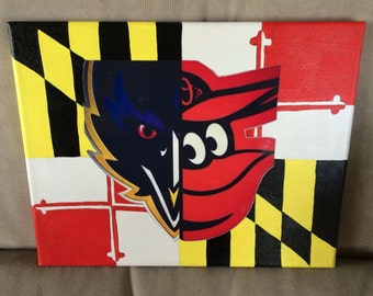 Maryland Flag with split Oriole/Raven Bird Canvas