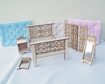 DH Kits Fret Bedroom Set Laser Cut Kits  1:12  The Collection